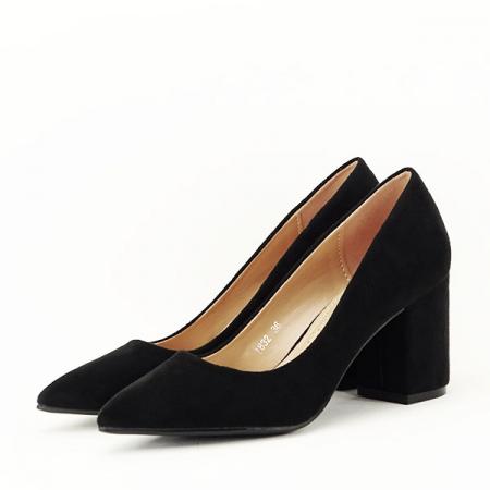 Pantofi negri cu toc gros Adelina1