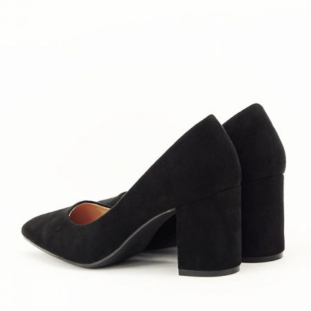 Pantofi negri cu toc gros Adelina3
