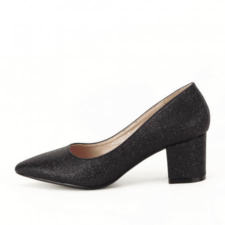 Pantofi negri cu toc gros Aura [0]