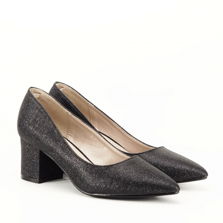 Pantofi negri cu toc gros Aura [1]