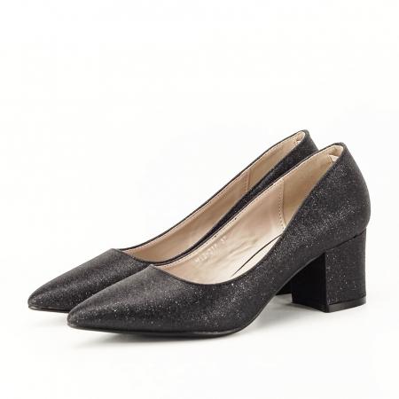 Pantofi negri cu toc gros Aura [5]