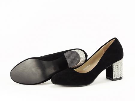 Pantofi negri eleganti cu toc comod Brenda [3]