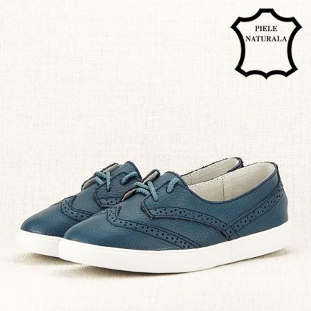 Pantofi oxford albastri Carla [2]