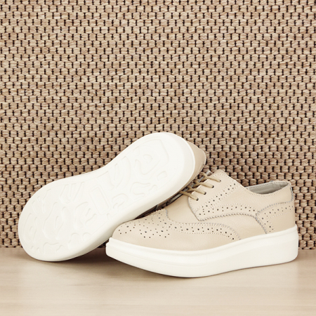 Pantofi oxford din piele naturala Laura bej [3]