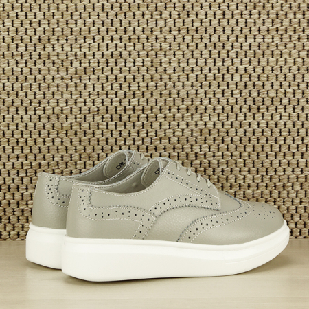 Pantofi oxford din piele naturala Laura gri [6]
