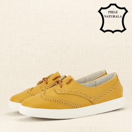Pantofi oxford galbeni Carla2