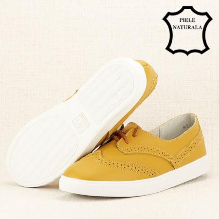 Pantofi oxford galbeni Carla7
