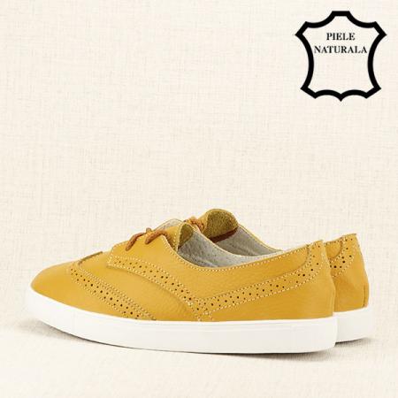 Pantofi oxford galbeni Carla4