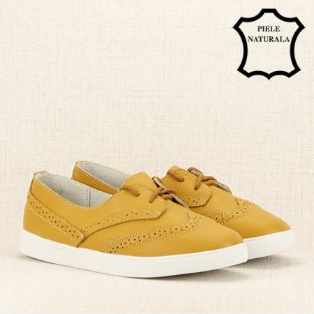 Pantofi oxford galbeni Carla3