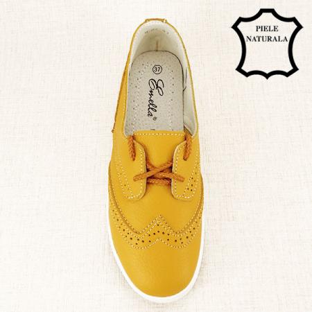 Pantofi oxford galbeni Carla1