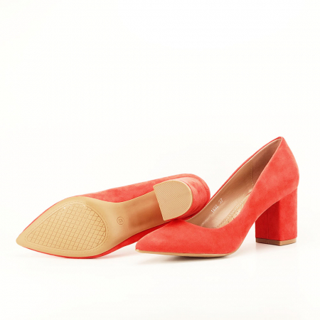 Pantofi portocalii cu toc gros Adelina7