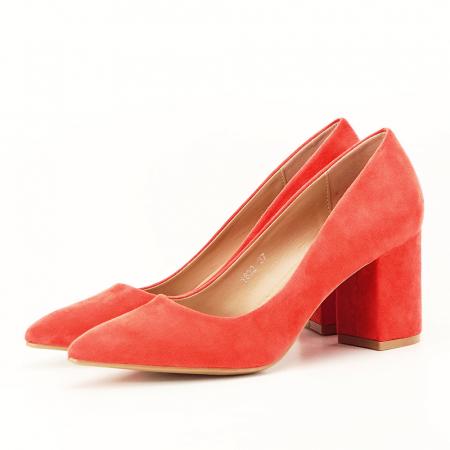 Pantofi portocalii cu toc gros Adelina0