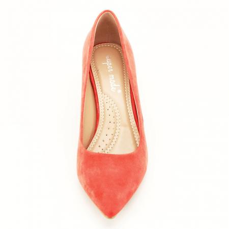 Pantofi portocalii cu toc gros Adelina6