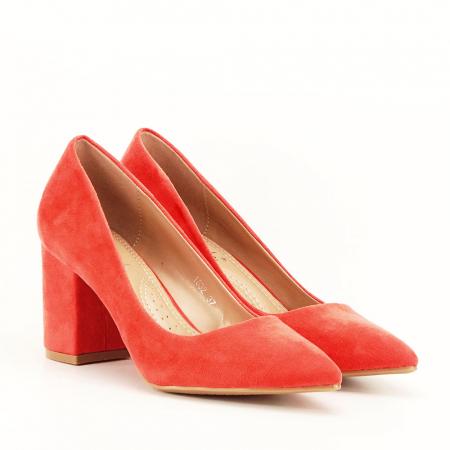 Pantofi portocalii cu toc gros Adelina1