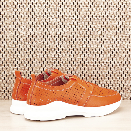 Pantofi piele naturala portocalii Angela [4]