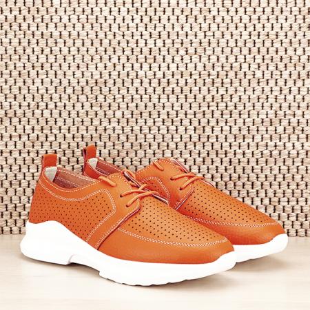 Pantofi piele naturala portocalii Angela [2]