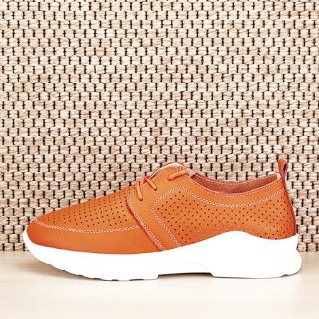 Pantofi piele naturala portocalii Angela [0]
