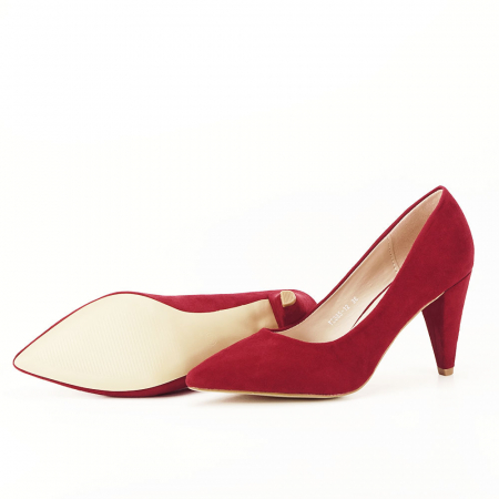Pantofi rosii cu toc conic Dion4