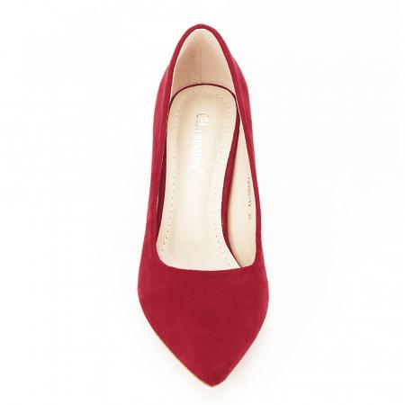 Pantofi rosii cu toc conic Dion5