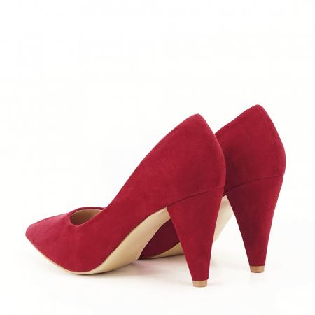 Pantofi rosii cu toc conic Dion7
