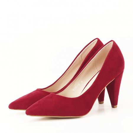 Pantofi rosii cu toc conic Dion6