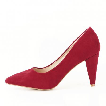 Pantofi rosii cu toc conic Dion0