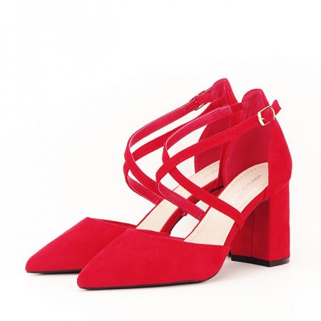 Pantofi rosii cu toc gros Amira [0]