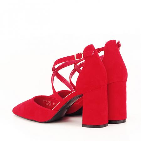 Pantofi rosii cu toc gros Amira [6]