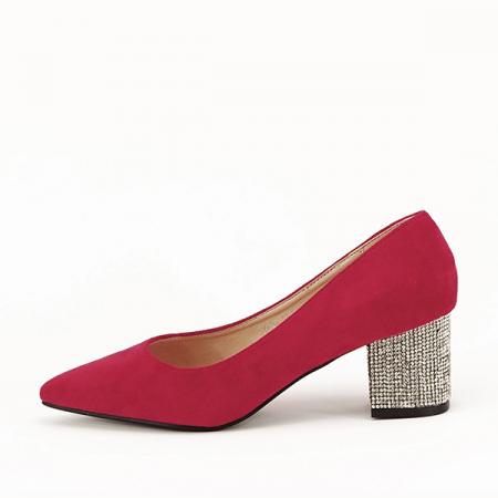 Pantofi rosii cu toc mic de 5,5 cm Ioana [0]