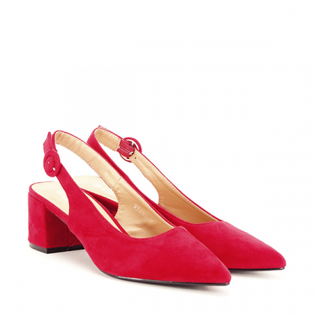 Pantofi rosii cu toc mic Simina [2]