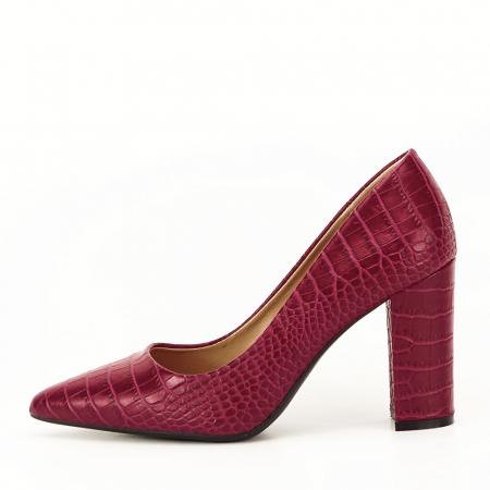 Pantofi rosu burgundy cu imprimeu Dalma0
