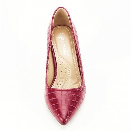 Pantofi rosu burgundy cu imprimeu Dalma6
