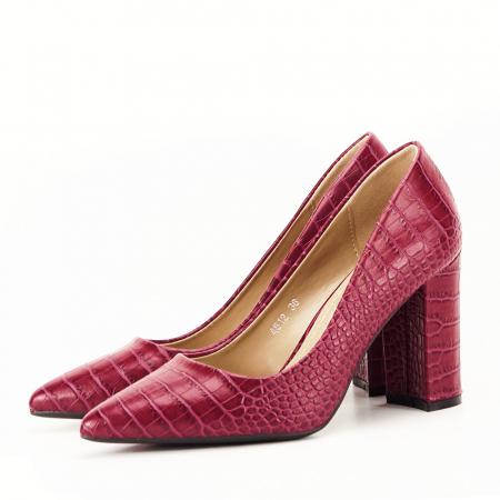 Pantofi rosu burgundy cu imprimeu Dalma5