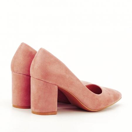 Pantofi roz cu toc gros Adelina7