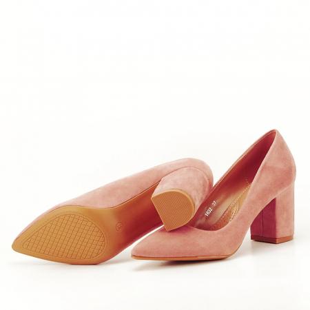 Pantofi roz cu toc gros Adelina5