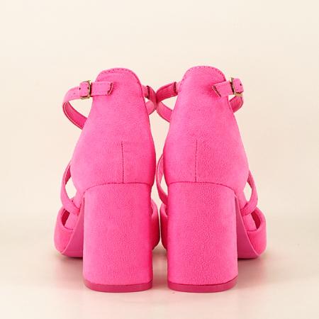 Pantofi roz neon cu toc gros Amira4