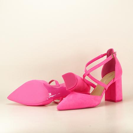 Pantofi roz neon cu toc gros Amira6