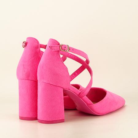 Pantofi roz neon cu toc gros Amira5