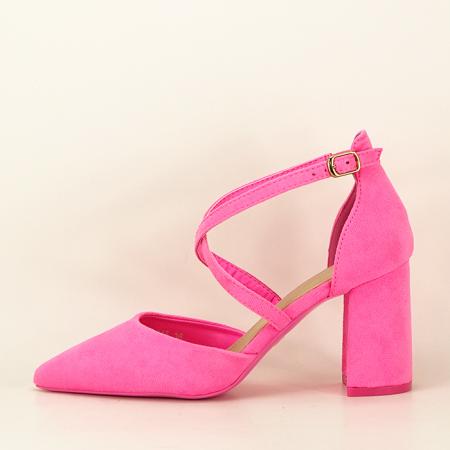 Pantofi roz neon cu toc gros Amira2