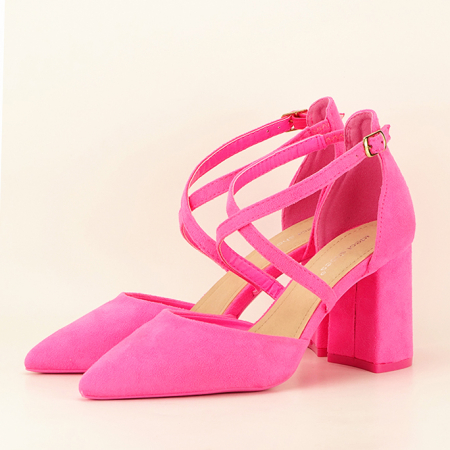 Pantofi roz neon cu toc gros Amira0