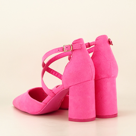 Pantofi roz neon cu toc gros Amira3