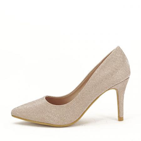 Pantofi sampanie cu toc Oana [0]