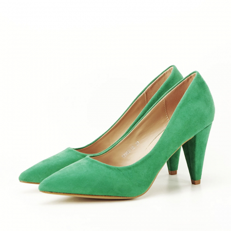 Pantofi verzi cu toc conic Dion4