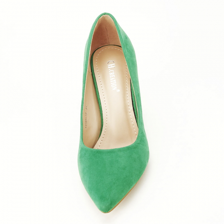 Pantofi verzi cu toc conic Dion7
