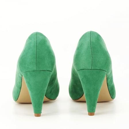 Pantofi verzi cu toc conic Dion3