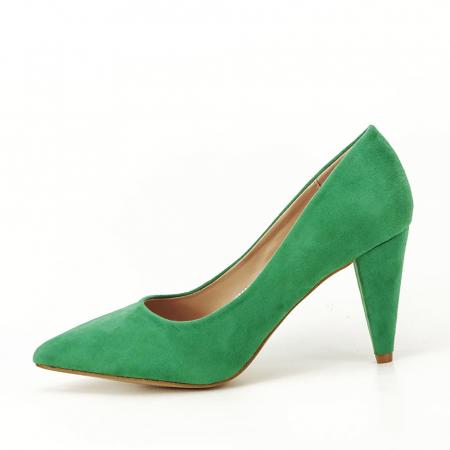 Pantofi verzi cu toc conic Dion0
