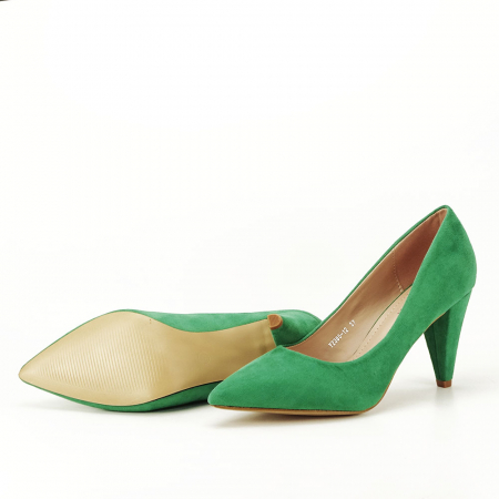 Pantofi verzi cu toc conic Dion6