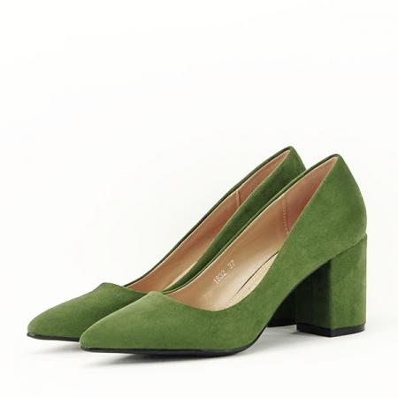 Pantofi verzi cu toc gros Adelina2