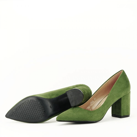 Pantofi verzi cu toc gros Adelina7