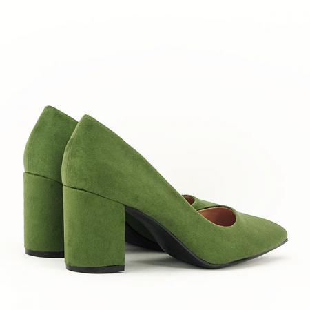 Pantofi verzi cu toc gros Adelina3